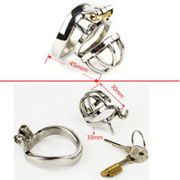 Wholesale top male chastity devices - Male Chastity Smaller Stainless Steel Chastity Belt Cock Lock Chastity Cage Device Top Quality Metal Strap On Sex Products For Men