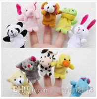 Wholesale Teddy Bear Finger Puppets - 2016 new Retail Baby Plush Toy Finger Puppets Talking Props 10 animal group 10pcs set free shipping