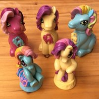 Wholesale Play Ponies - 5pc set,Super cute pony polly children play in the toy bath toys home furnishing a non-toxic environmental protection material