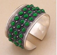 Wholesale Jade Jewelry Box China - Fashion Unisex Gift Jewelry Cuff Bracelet Round Green Jade Bead Tibet Silver