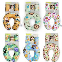Wholesale Travel Pillow Cartoons - Baby Pillow Neck Protection Pillow Strape Cover Set Cars U-shape Outdoor Travel Pillows For Sleeping Soft Cartoon Maternity Supplies