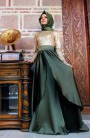 кафтаны оптовых-2018 новая мода с длинным рукавом мусульманские кафтаны вечерние платья Дубай блесток женщины Малайзия мусульмане Абая платья 2 цвета ZED77