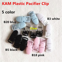 Wholesale Suspenders Plastic Clips - Wholesale-( 5 color mixed ) 50pcs 1.5CM Kam Brand Plastic Baby Pacifier Dummy Chain Holder Clips for 15mm ribbon Soother Suspender Clips