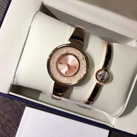 Wholesale Bracelet Box Pink - With Gift box Top Brand Watches 2 Sets Women Luxury Watch & Bracelet Diamond Dress Wristwatches for ladies girl Water Resistant Montre Femme