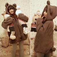 Wholesale Teddy Bear Ears Hoodie - Wholesale-Fashion Cute Womens Winter Warm Coat Teddy Bear Ear Outerwear Coat Hoodie Coat H1301