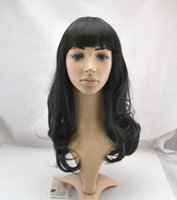 Wholesale 2017 new synthetic wig with bangs body wave black fashion ladies daily and party use wig high quality heat resistant cosplay wig