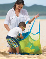 Wholesale hunt clothes online - 300pcs Children Baby Outdoor Beach Sandy Toy Clothes Towel Collecting Bags Shoulder Bags Large Space Mesh Bags Handbag Totes
