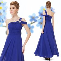 Wholesale Sapphire Blue Evening Gown - Sexy Formal Evening Dresses 2017 Stylish Sapphire Blue One Shoulder Evening Long Sheer Prom Party Gowns Evening Wear Dress