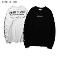 Wholesale Hip Hop Long T Shirts - Fear Of God T Shirt 18ss New Shelves Men Women Fall Black High Quality Long Sleeves FOG T Shirts Hip Hop Fear Of God T Shirt