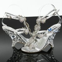 Wholesale Diamond Silver Heels For Wedding - High Quality New Diamond Crystal Wedding Shoes Sandals Wedges Princess Crystal Shoes Prom Women's Shoes For Banquet Party