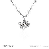 Wholesale Octopus Slide - Octopus Pendant Charms Fashion Antique Silver Pendant 3D Plated Collar Body Chain Necklaces for Women Girls Boys Jewelry