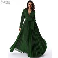 636ec55388f6 Wholesale- Winter Mesh Dress 2017 Women Party Maxi Dress Manica lunga oro  scollo a V profonda Sashs Celebrity Runway lungo plissettato Vestidos