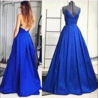 Real Foto Royal Blue Backless Abendkleider Long 2017 V-Ausschnitt Spaghetti-Trägern Party Kleider Formal Graduation Dress