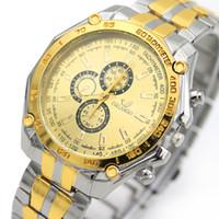Wholesale Retro Gold Watch - Wholesale fashion luxury mens gold alloy watches metal 3 eyes retro watch hot men silver gold colors dress quartz watches