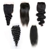 прямая средняя часть оптовых-4x4 2x6 закрытие шнурка девственные бразильские человеческие волосы свободный средний три части закрытие прямое тело Свободная глубокая волна вьющиеся естественный цвет 8-20 дюймов