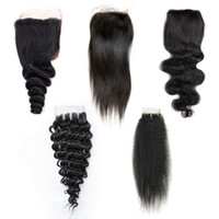 doğal renk brezilya kıvırcık saç toptan satış-4x4 Dantel Kapatma Virgin Brezilyalı İnsan Saç Ücretsiz Orta Üç Parçası Kapatma Düz Vücut Gevşek Derin Dalga Kıvırcık Doğal Renk 8-20 inç