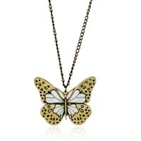 Wholesale Drip Lucite - 2017 new Fashion Vintage oil drip butterf long sweater chain nekclace for women statement Jewelry color crystal Pendant necklace wholesale
