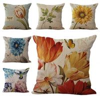 Wholesale Sunflower Cushions - Flower Sunflower Pillow Case Cushion cover Linen Cotton Throw Pillowcases sofa Bed Pillow covers DROP SHIPPING