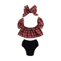 Wholesale American Girl Dolls Clothes - Hot Mikrdoo Baby Girl Clothes Kids Plaid Tops Toddler Black Shorts Headband 3pcs Suit Doll Ruffled Collar Blouse Newborn Infant Clothing Set
