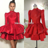 Wholesale Short Mini Taffeta Dresses - Oumeiya New Arrival ORC101 Red Taffeta Puffy Skirt High Neck Long Sleeve Real Pictures of Cocktail Dress 2015