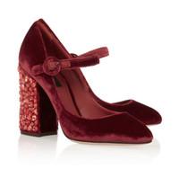 tacones de terciopelo negro al por mayor-D Rhinestone Jewery Vino Rojo Bombas de terciopelo negro Tacones gruesos Hebilla para mujer Zapatos de boda Mary Jane