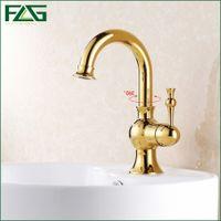 Wholesale Gold Faucet Bath - FLG European Nordic Retro Bath Mat Single Monster Lever Cold&Hot 360 Degree Swivel Vanity Sink Musluk Gold Kitchen Faucets M093