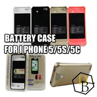 Wholesale Iphone Rechargable - Battery case 2200mAh for Iphone 5 5s 5c Lithium ion polymer battery case led charge display external backup battery charger case rechargable