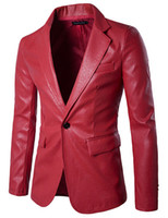 Wholesale Men Cotton Blazer Red - 2017 spring new pure Men's Clothing color Slim high quality PU leather fashion Men's Suits & Blazers X307