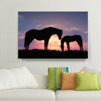Wholesale Framed Horse Painting - Romantic Sunset Landscape Black Horse Canvas Painting Home Decor Canvas Wall Art Picture Digital Art Print for Living Room