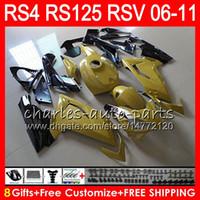 aprilia rs 125 gold großhandel-Karosserie Für Aprilia RS4 RSV125 RS125 06 07 08 09 10 11 RS125R RS-125 Top Gold Schwarz 70NO22 RSV 125 RS 125 2006 2007 2008 2009 2010 2011 Verkleidung