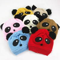 Wholesale Panda Knitted Hat - Winter Warm Fleece Animal Baby Panda Knitted Beanies Hat Children Kids Cute Cartoon Pom Pom Crochet Cap