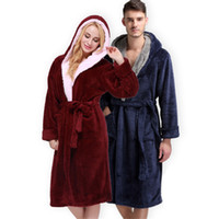 Wholesale Adult Unisex Bathrobe - Colorful Unisex-adult BathRobe Winter Adult Animal Flannel Hooded Robe Collar BathRobes Womens Mid Callf Sleepwear Nightgown Bathrobe
