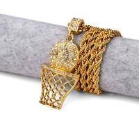 basket necklace jewelry Australia - New Arrival Hiphop Basketball Basket Pendant Diamond Alloy Plate Golden Hip-hop Pendant Necklace Jewelry Men Women Free Shipping