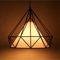 ingrosso gabbia di uccelli-moderno nero ciondolo birdcage luci ferro minimalista retrò luce lampada a sospensione piramide scandinavo loft metallo con lampadina a led