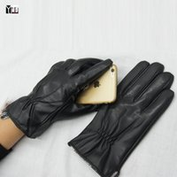 Wholesale Goat Skin Gloves - Wholesale- 2016 Winter Free shipping man genuine leather touch screen gloves male goat skin leather gloves black men mittens fleece lining2