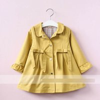 Wholesale Girls Trench Coat Princess - Kids trench coat girls lapel falbala sleeve windbreaker children bows single breasted outwear 2017 autumn girls princess coat T4207
