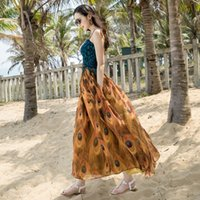 peacock beach dresses achat en gros de-Bohemian Beach Trousers Dresses 2017 Summer New Peacock Print Chiffon One Piece Dress taille grand M ~ XL