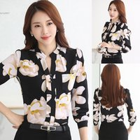 Wholesale Ladies Printed Collar Shirt - New Fashion shirts for women Casual Floral Print chiffon blouse tops Stand Neck Long Sleeve Ladies Clothing