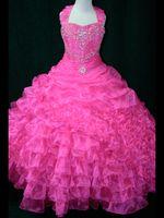 festzug kleider junioren größen 14 groihandel-Großhandel 2017 Neue Rosa Halfter Top Perlen Organza Junior Größe Pageant Kleider Prinzessin Ballkleid LR703