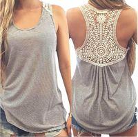 Wholesale Blouse T Shirt Women - Hot Marketing Fashion Large Size Women Summer Lace Vest Top Sleeveless Blouse Casual Tank Tops T-Shirt