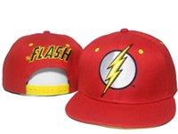 Wholesale Dc Snapback Hats - Dc Comics The Flash Snapbacks Cap Superhero Snapback Cartoon Caps Snap Back Men Women Summer Beach Sun Hats Cool Party Hat