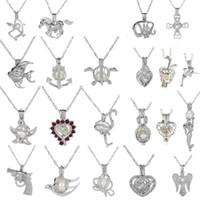 gümüş denizkızı takılar toptan satış-Gümüş Ton İnci Kafes Shark Mermaid Sea Horse Kolye Ile Madalyon Gül İnciler Oyster Kadınlar Için Kolye Charm Güzel Takı