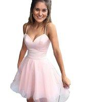скромные клубные платья оптовых-2019 новые короткие розовые платья возвращения на родину милая мини-тюль ну вечеринку коктейльные платья спагетти скромные дешевые выпускные платья на заказ