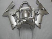 Wholesale cheap plastics for motorcycles - Cheap injection mold plastic fairings for Kawasaki Ninja ZX6R 03 04 silver motorcycle fairing kit ZX6R 2003 2004 UY29
