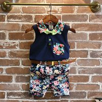 Wholesale Korean Top Wear New - 2017 new Summer Korean Boys Clothing suit Flower cotton vest tops belt shorts pants 2pcs set Children Outfit baby Clothes toddler wear A385