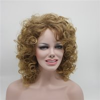 Wholesale Brazilian Afro Jerry - Fashion Women Or Ladies Jerry Curly Medium-Length Afro Loose Black Hair Girls Cosplay Synthetic Wig Rihanna's Hairstyle