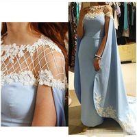 Wholesale Collar Lace Bolero Jackets - Middle East Moroccan Kaftan 2017 Long Bolero Blue Formal Evening Dress Lace Applique Arabic Prom Party Dresses Vestidos Women Gowns