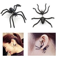 Wholesale Sexy Cool Jewelry - Cool Sexy Black Spider Stud Earrings Female 3D Double Sided Ear Stud Cute Earring Halloween Jewelry For Women B860L