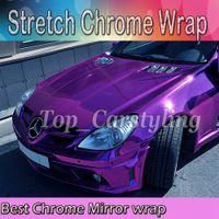 Wholesale violet vinyl - Best Quality Stretchable Violet Chrome Mirror Vinyl Wrap Film for Car Styling foil air Bubble Free Size:1.52*20M Roll(5ft x 65ft)