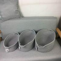 Wholesale Cotton Storage Basket - 2017 New Cotton Rope Storage Basket Hamper with Handles Set of 3(Grey)